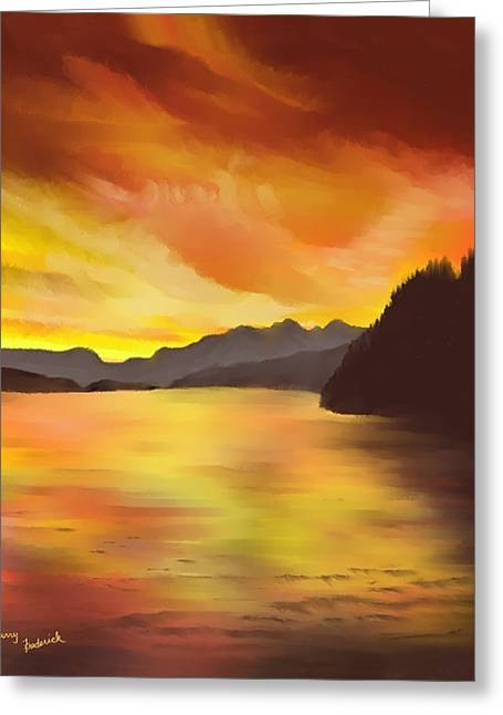 Greeting Card featuring the painting Alaska Sunset by Terry Frederick