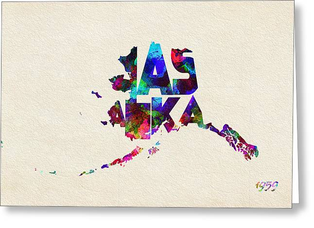 Alaska Typographic Watercolor Map Greeting Card