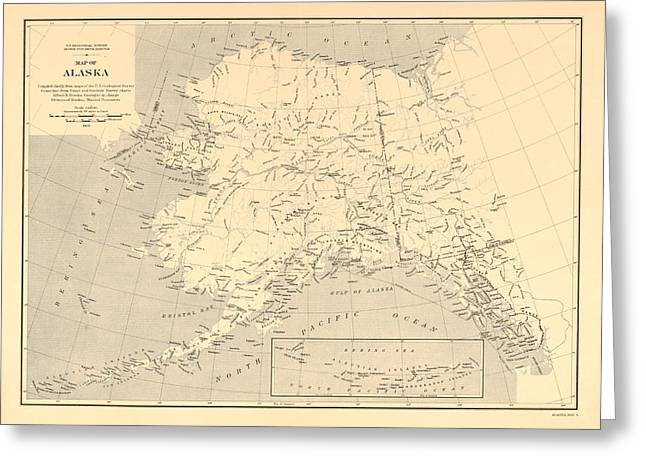 Alaska Vintage Antique Map Greeting Card by World Art Prints And Designs