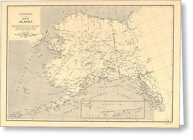 Alaska Vintage Antique Map Greeting Card