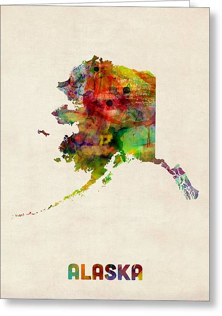 Alaska Watercolor Map Greeting Card by Michael Tompsett