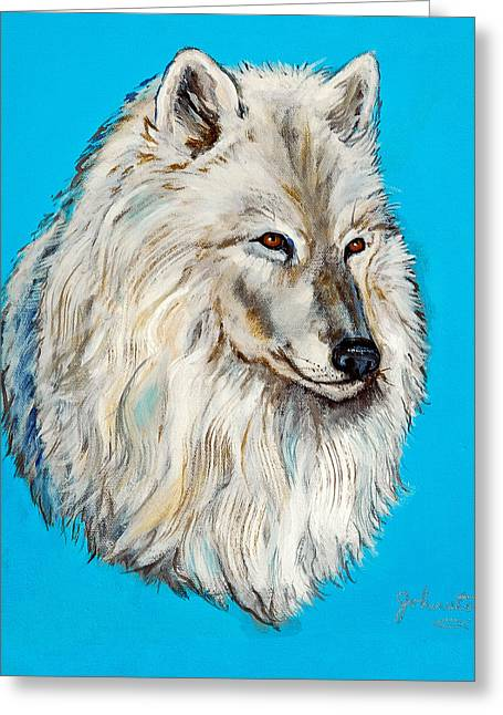 Greeting Card featuring the painting Alaska White Wolf by Bob and Nadine Johnston