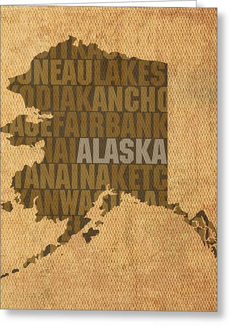 Alaska Word Art State Map On Canvas Greeting Card