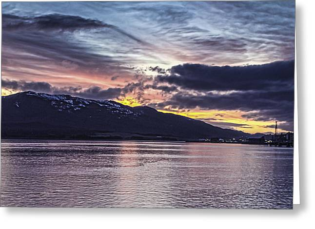 Alaskan Sunset On The Tongass Narrows Greeting Card by Timothy Latta