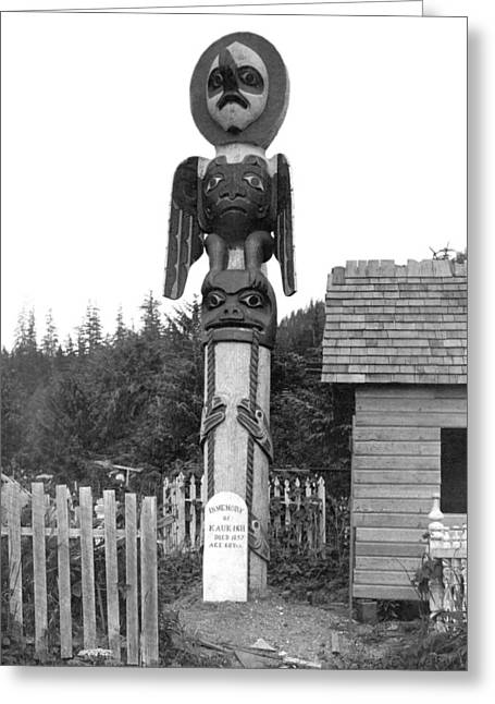 Alaskan Totem Pole Greeting Card by Underwood Archives