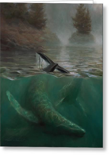 Humpback Whales - Underwater Marine - Coastal Alaska Scenery Greeting Card