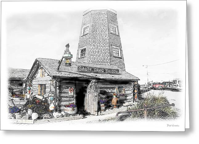 Greeting Card featuring the photograph Alaska's Salty Dawg Saloon In B/w  by Dyle   Warren