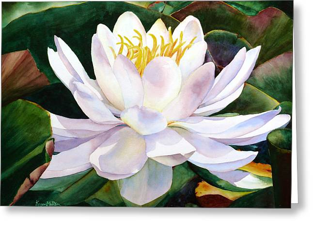Greeting Card featuring the painting Alba Flora by Karen Mattson