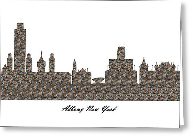 Albany New York 3d Stone Wall Skyline Greeting Card