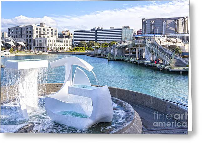 Albatross Fountain Wellington New Zealand Greeting Card by Colin and Linda McKie