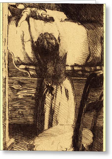 Albert Besnard, French 1849-1934, The Doll La Poupée Greeting Card by Litz Collection