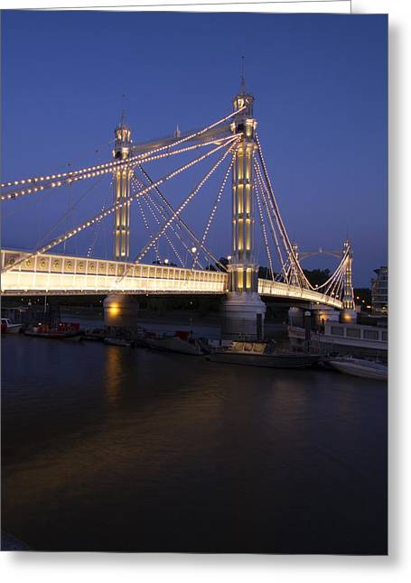 Albert Bridge London Thames At Night  Greeting Card