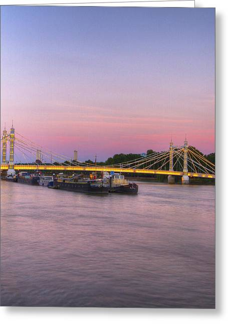 Albert Bridge London Thames At Night Dusk Greeting Card