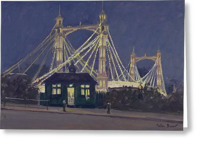 Albert Bridge - Night Oil On Canvas Greeting Card
