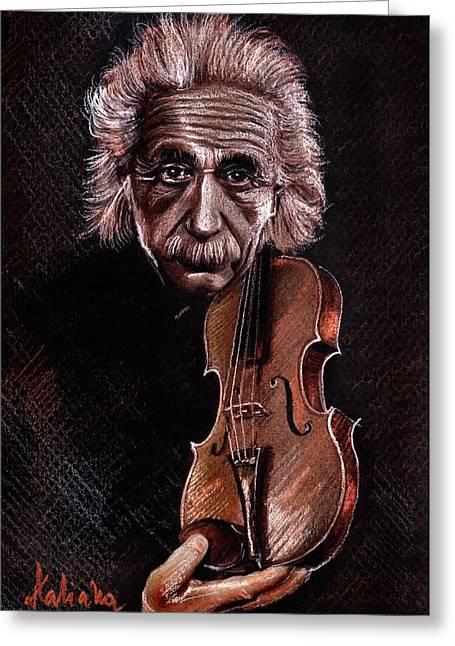Albert Einstein And Violin Greeting Card by Daliana Pacuraru