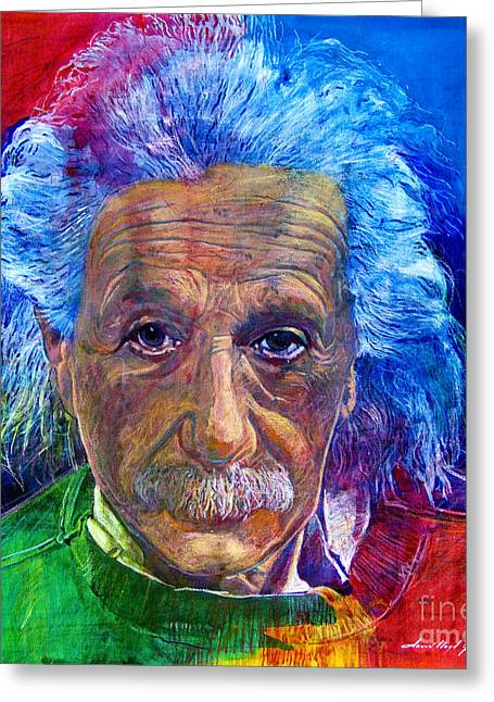 Contemporary Art Paintings Greeting Cards - Albert Einstein Greeting Card by David Lloyd Glover