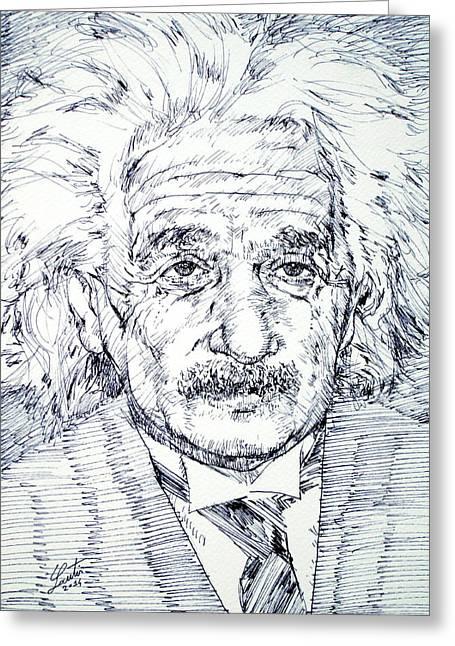 Albert Einstein - Drawing Portrait Greeting Card by Fabrizio Cassetta