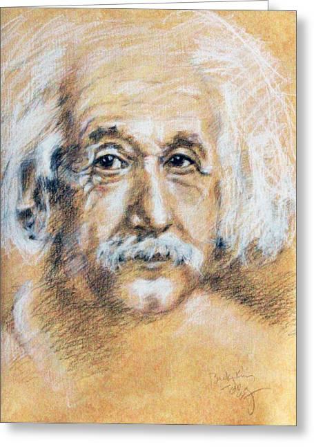 Albert Einstein Face Greeting Card by Becky Kim