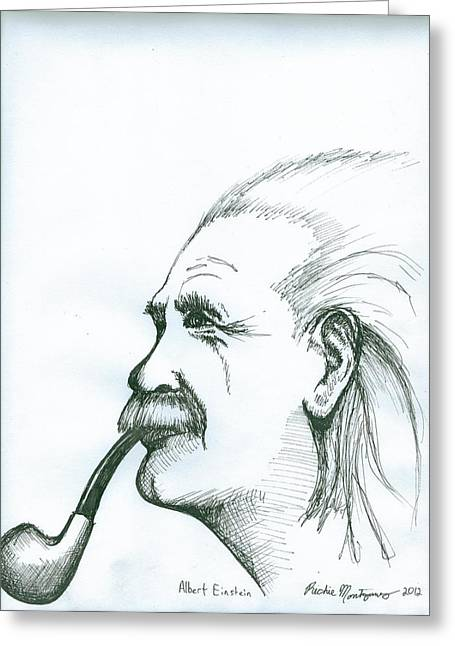 Greeting Card featuring the painting Albert Einstein by Richie Montgomery