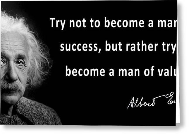 Albert Einstein Speaks About Character Greeting Card by Daniel Hagerman
