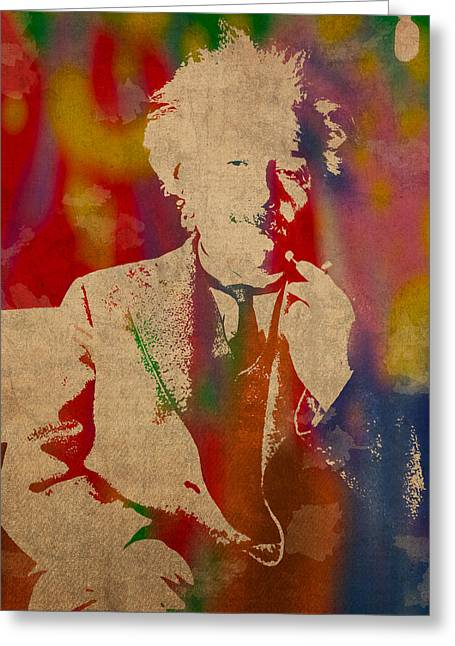 Albert Einstein Watercolor Portrait On Worn Parchment Greeting Card by Design Turnpike