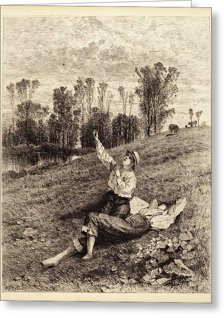 Albert Fitch Bellows, Untitled Boys Flying A Kite Greeting Card