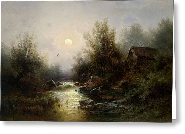 River Landscape  Moonlit Night Near Brixen Greeting Card by MotionAge Designs