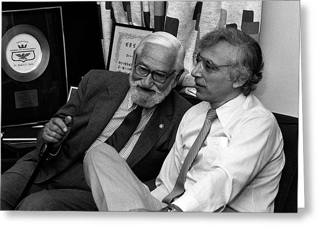 Albert Sabin And Robert Gallo Greeting Card by National Cancer Institute