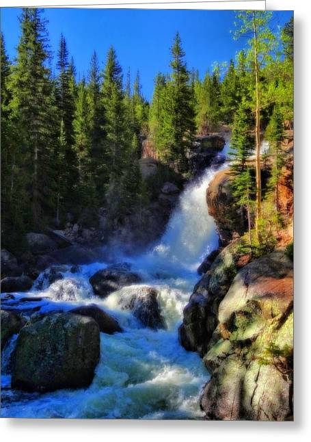 Alberta Falls In Rocky Mountain National Park Greeting Card by Dan Sproul