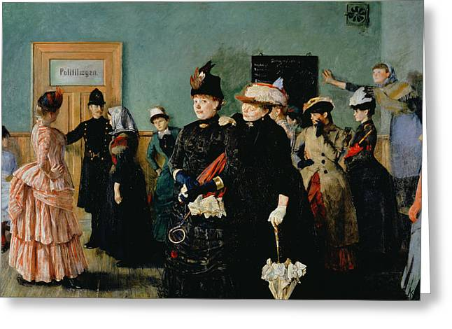 Albertine At The Police Doctors Waiting Room, 1886-87 Greeting Card by Christian Krohg
