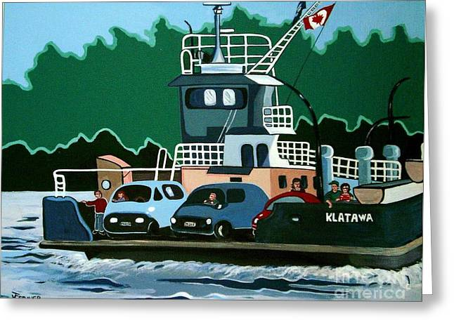 Greeting Card featuring the painting Albion Ferry by Joyce Gebauer