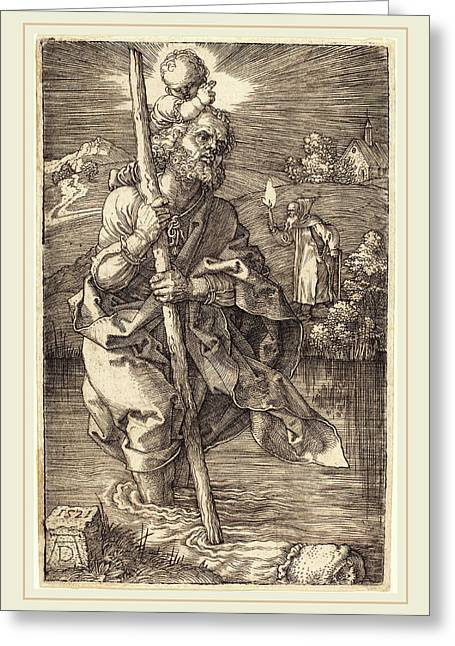 Albrecht Dürer German, 1471-1528, Saint Christopher Facing Greeting Card