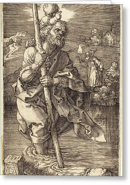 Albrecht Dürer German, 1471 - 1528, Saint Christopher Greeting Card