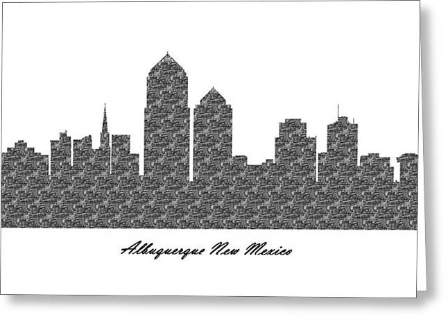 Albuquerque New Mexico 3d Bw Stone Wall Skyline Greeting Card