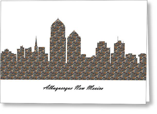 Albuquerque New Mexico 3d Stone Wall Skyline Greeting Card