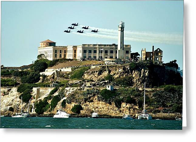 Alcatraz Blues Greeting Card by Benjamin Yeager