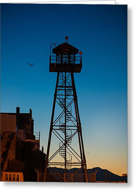 Alcatraz Guard Tower Greeting Card by Steve Gadomski