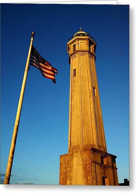 Alcatraz Light House Greeting Card by SFPhotoStore