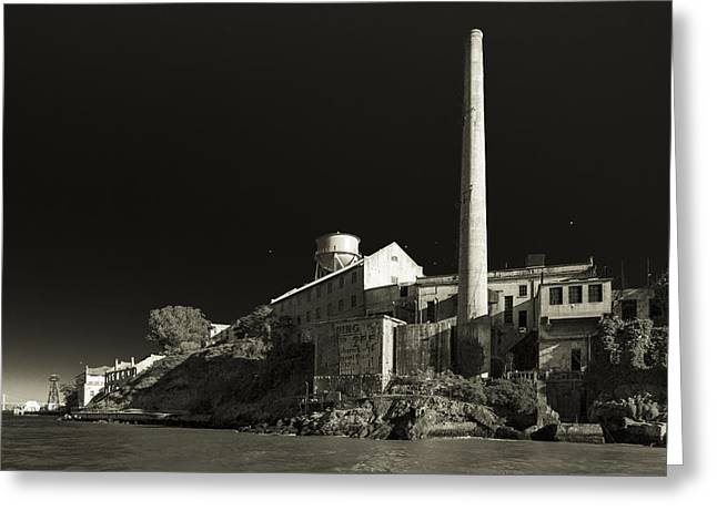 Alcatraz Stack Sepia Greeting Card by Scott Campbell
