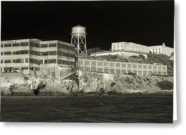 Alcatraz The Rock Sepia 1 Greeting Card by Scott Campbell