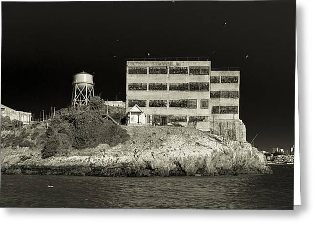 Alcatraz The Rock Sepia 2 Greeting Card by Scott Campbell
