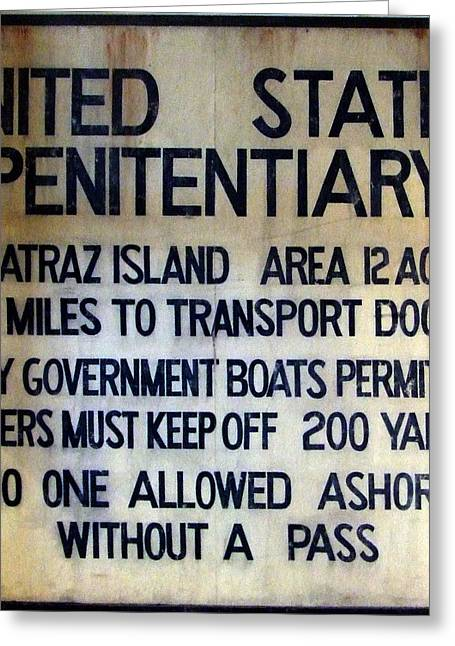 Alcatraz Warning Greeting Card by Richard Reeve