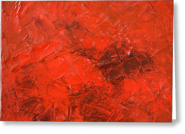 Alchemy In Red - Red Abstract By Chakramoon Greeting Card by Belinda Capol