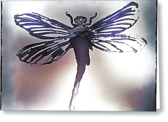 Alcohol Inks Purple Dragonfly Greeting Card