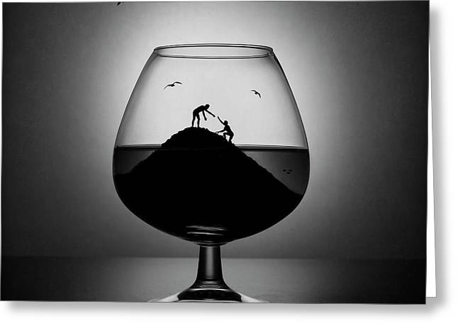 Alcoholism. The Hand Of Help Greeting Card