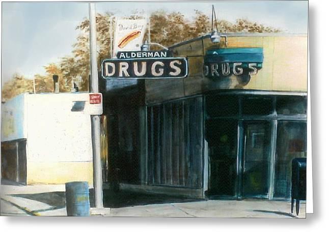 Alderman Drugs Greeting Card by William  Brody