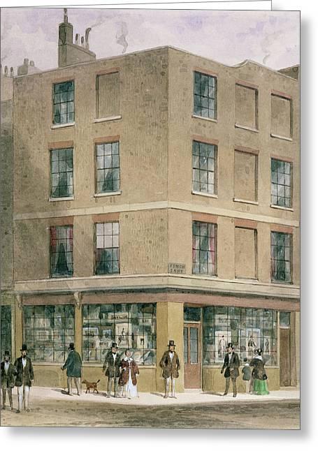 Alderman Moons Print Shop, Wc On Paper Greeting Card by Thomas Hosmer Shepherd