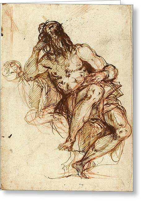 Alessandro Maganza, Italian 1556-1640, Saint Jerome Greeting Card by Litz Collection