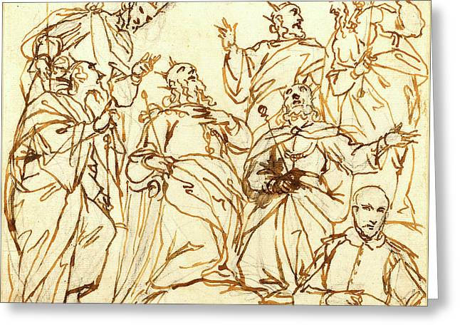 Alessandro Maganza, Italian 1556-1640, Six Kings And A Donor Greeting Card by Litz Collection