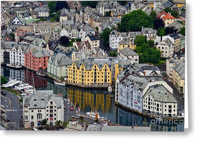 Alesund Norway Greeting Card by Gerda Grice